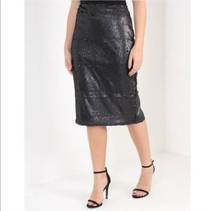MINKPINK Bordeaux Black Sequin Skirt High Waisted